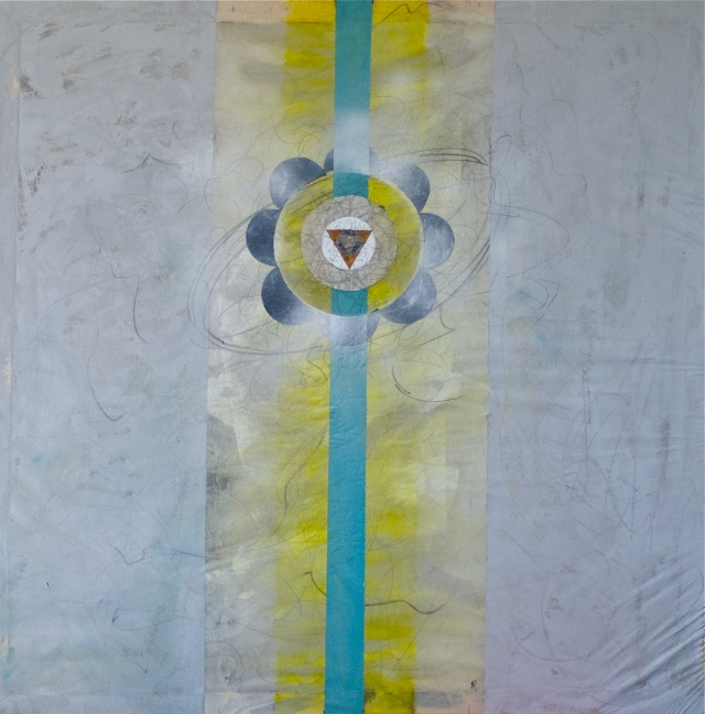 Untitled. Rob Burton 2011 Mixed Media on Non-woven Fabric 110cm X 110cm